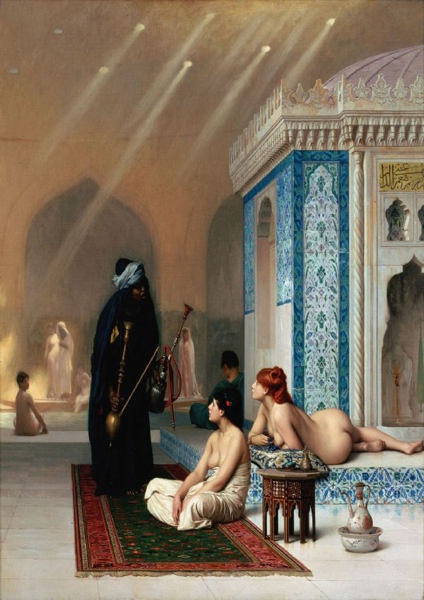 Gerome, Jean Leon: Pool in a Harem. Fine Art Print/Poster. Sizes: A4/A3/A2/A1 (002836)